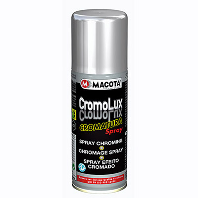 Cromolux: chromium plating enamel in 200 ml spray can with resistance up to 400°C