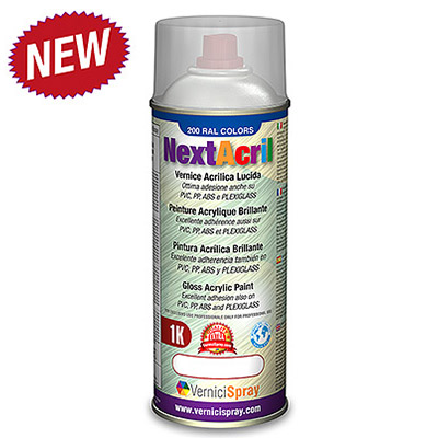 NextAcril - Gloss Acrylic Spray Paint high anchoring power even for PVC e ABS   Ral 9005  jet black