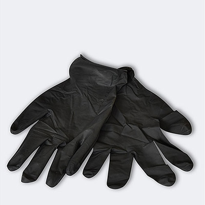 Disposable black latex Protective Gloves - 3 pairs