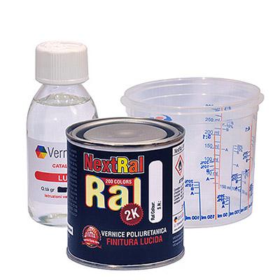 NextRal Peinture Polyuréthane 2k dans les couleurs brillantes RAL en boîte de 250 gr