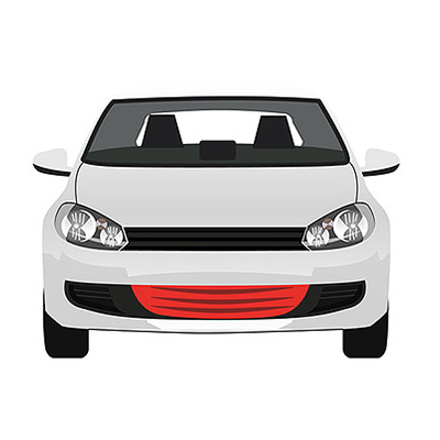 Center Grille for Front Bumper w/ Fog Lamp Hole