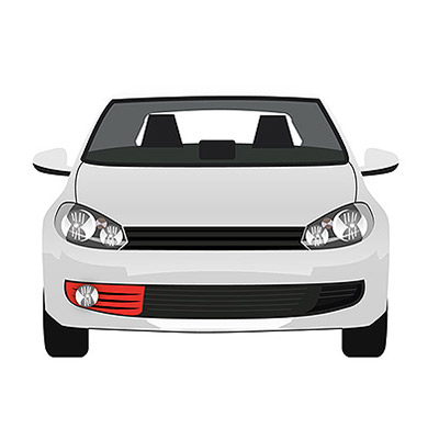 Front Bumper Grille w/ Fog Lamp Hole - Primed - Right Side