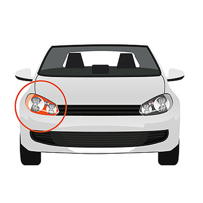 Indicator Lateral Installation without Bulb Holder - Left side, Crystal -
