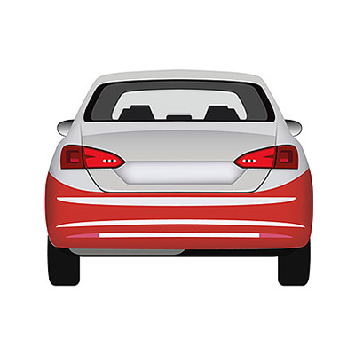 Rear Bumper Primed - with Tow Hook cover and Sensor cutting marks pdc