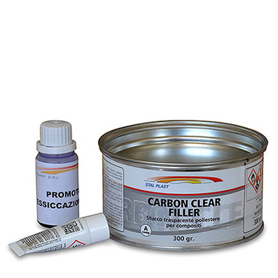 Carbon Clear Filler - Masilla transparente de Poliéster para fibra de carbono, fibra de vidrio y plástico