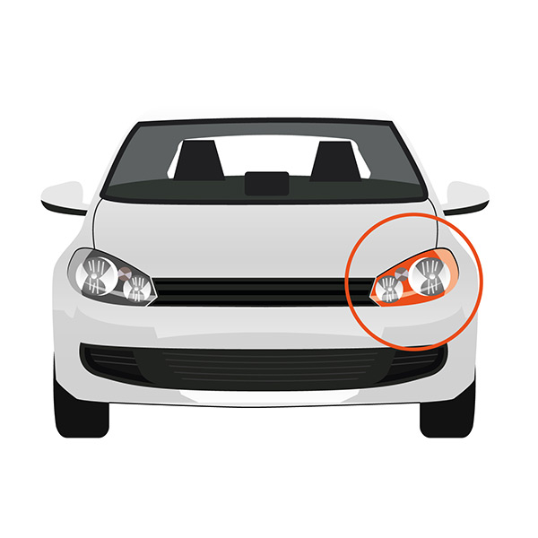 Front Headlight Left side - H7+HB3 - Electric