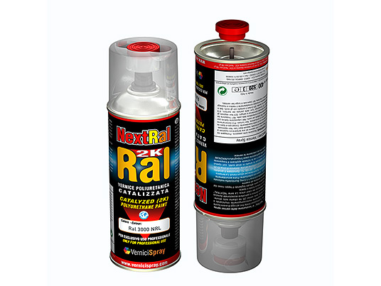2k Paint polyurethane based in spray can - RAL gloss finish