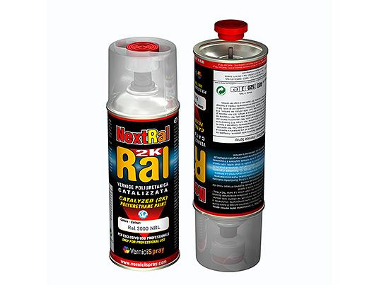 Pintura Poliuretano dos componentes en aerosol colores RAL brillantes