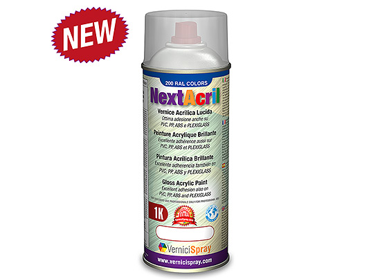 NextAcril - Pintura acrílica en aerosol Brillante con excelente adherencia en plástico